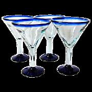 4 Large Mexican Mouth-Blown Martini / Margarita Glasses Cobalt Blue Rim & Bottom