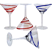 4 Martini Glasses in Swirline-Cobalt by Pier 1 Red & Blue