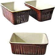 3 Vintage Chefsware H. F. Coors Brown Mini Loaf Baking Dishes #254