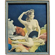 Joan 1930s Framed Nude Pin-Up Colorized Photo Print