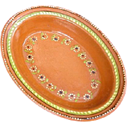 Large Oval Shaped Mexican Redware Pottery Serving Bowl 1970s