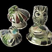 Set of Four Tonala Mexico Pottery Miniatures Frog Duck Owl & Toad on Mushroom