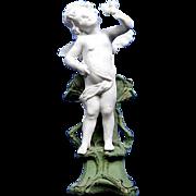 Antique German Gebruder Knoch Cupid /Angel Bisque Figurine Statue Bud Vase GK 3932