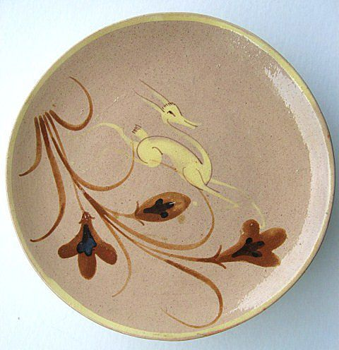 Six Art Deco Mexican Pottery Leaping Deer Plates from Tlaquepaque Mexico