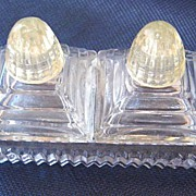 Vintage Czech Irice Glass Salt & Pepper Shakers on Glass Tray S&P Set
