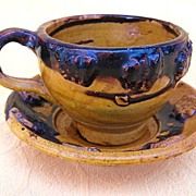 Vintage Oaxaca Mexico Yellow Dripware Pottery Tea Cup & Saucer