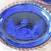 Set of 3 Mexican Pottery Oval Swan Charger Platters or Dishes ( Cobalt Blue & Green ) Michoacan
