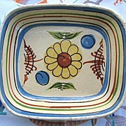 Sunflower Mexican Pottery Dish from Tlaquepaque