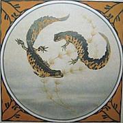 Arts & Crafts Circling Tiger Salamanders Nature Art Print Signed GH