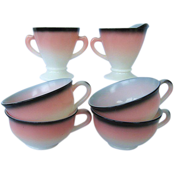 Hazel Atlas Ovide Informal Pink / Charcoal Creamer, Sugar, 4 Cups