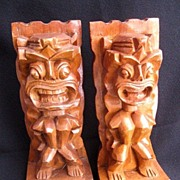 Vintage Tiki Carved  Monkey Pod Wooden Bookends from Hawaii