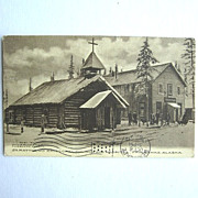 1910 St. Matthew's Episcopal Church and Hospital Postcard Fairbanks Alaska