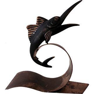 Richard Rohac   Bronze and Brass  Sailfish Bookend.