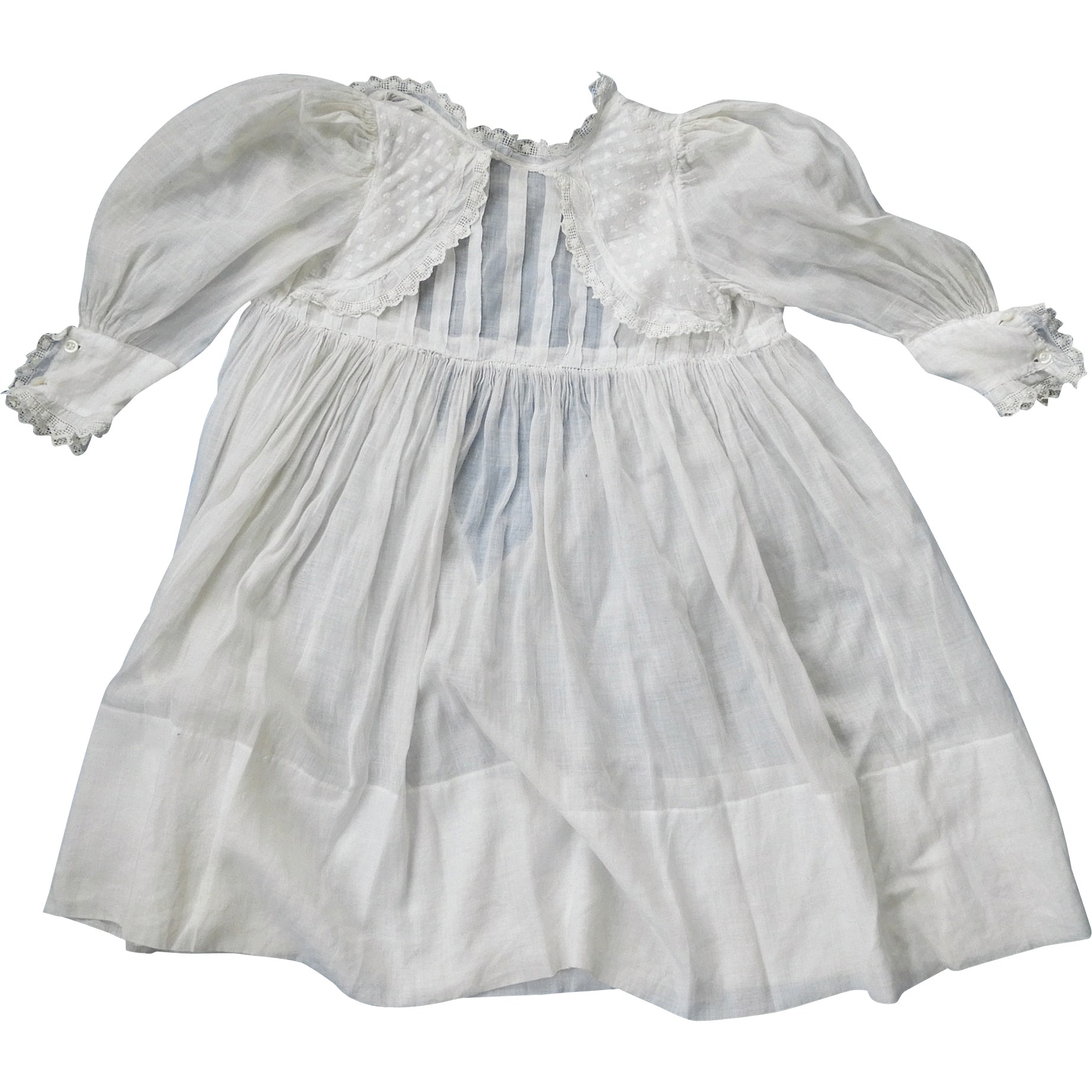 Sweet Antique Girl's or Large Bisque Doll's Dress, Pintucks & Lace
