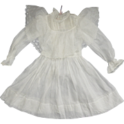 Antique Girl's Dress with Wide Broderie Anglaise Bertha
