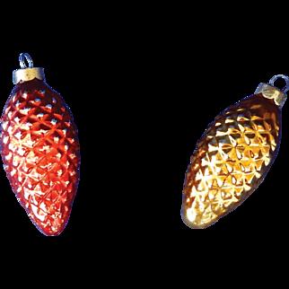 2 Vintage Glass Christmas Ornaments