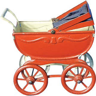 Miniature Stamped Tin German Doll Carriage
