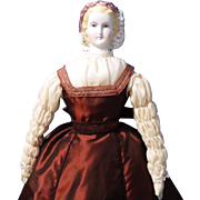 Antique German Untinted Bisque Doll, Empress Eugenie