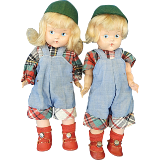 Pair of Painted Eye Brother & Sister Ginny Dolls