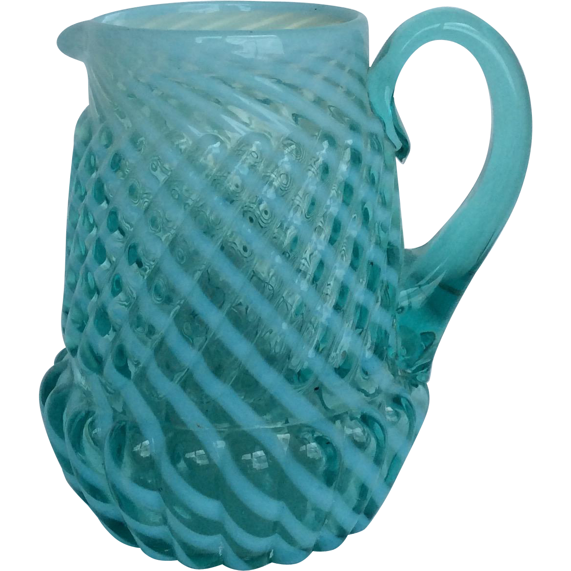RARE Victorian Opalescent Buckeye Art Glass Pitcher Syrup