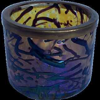 Victorian Art Glass Bohemian Kralik Ametyst Silver Plate Rim