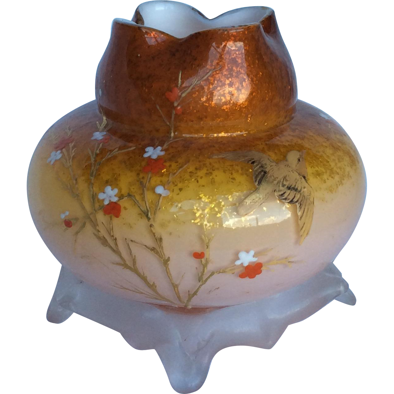 Webb Victorian Art Glass Rose Bowl