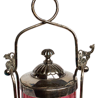 Victorian Cranberry Glass Silverplate Pickle Castor