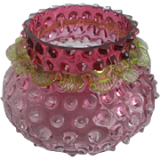 Victorian Rubina Hobnail Vase Apply Vaseline Rigaree