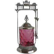 Victorian Cranberry Glass IVT Silver Plate Pickle Castor