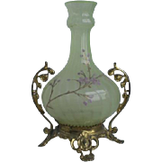 Victorian Opalescent Vaseline Glass Vase Castor Holder
