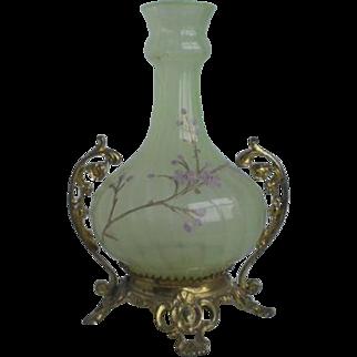 Victorian Opalescent Vaseline Glass Vase Castor Holder
