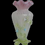 Victorian Vaseline Opalescent Glass Vase