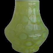 Rare Vaseline Opalescent Glass Vase Fenton