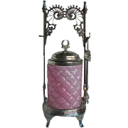 Victorian Pink Consolidated Cone Art Glass Silver Plate Pickle Castor Holder