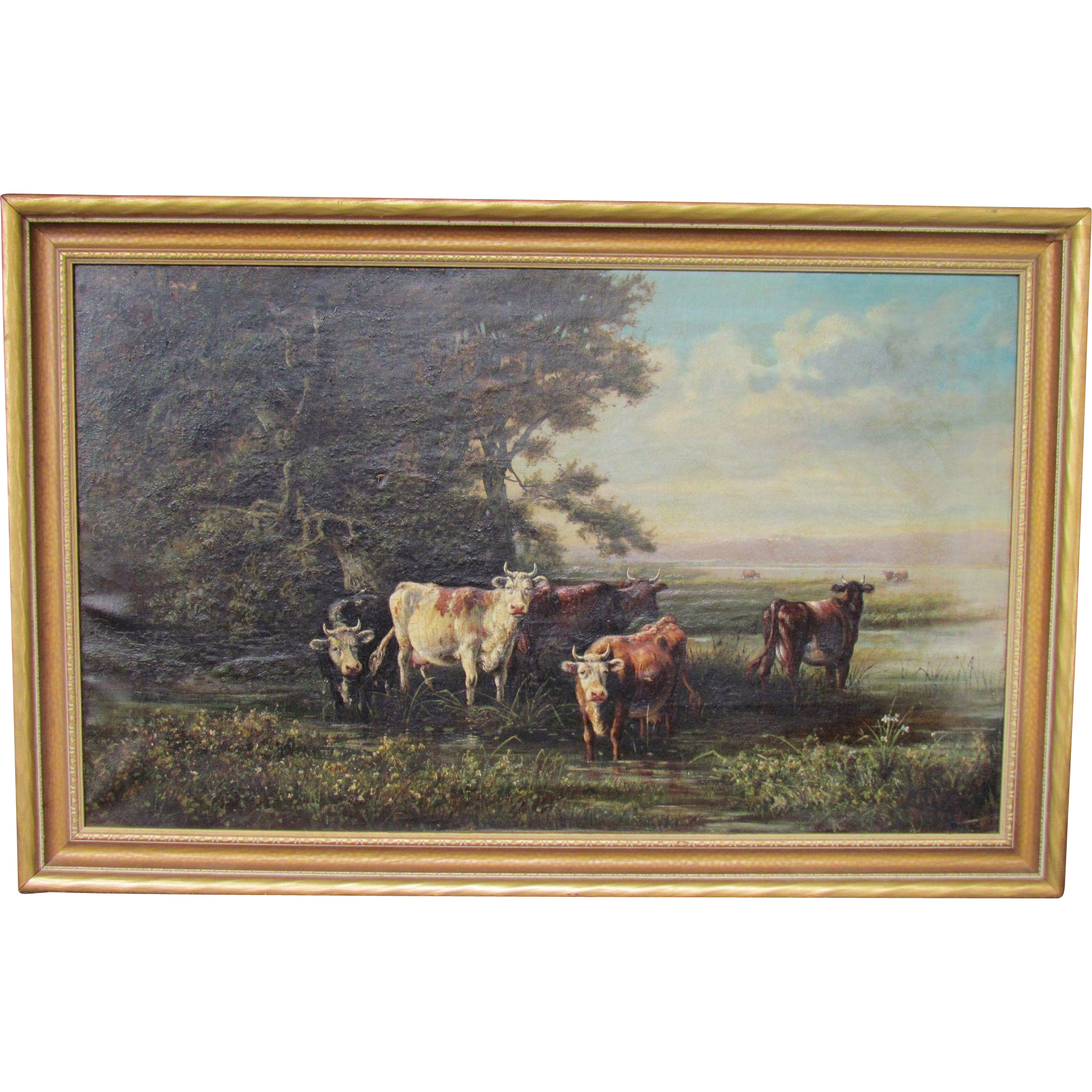 Henry BOESE 1824-1863 large oil on canvas of cows in NY landscape