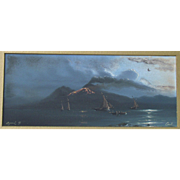 Augusto CORELLI 1853-1910  Italian nocturnal coastal gouache of Naples dated 1899