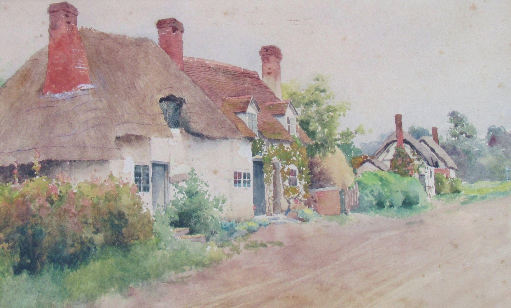English cottage watercolor 1895 by bernard kaufmann fl for Watercolor cottages