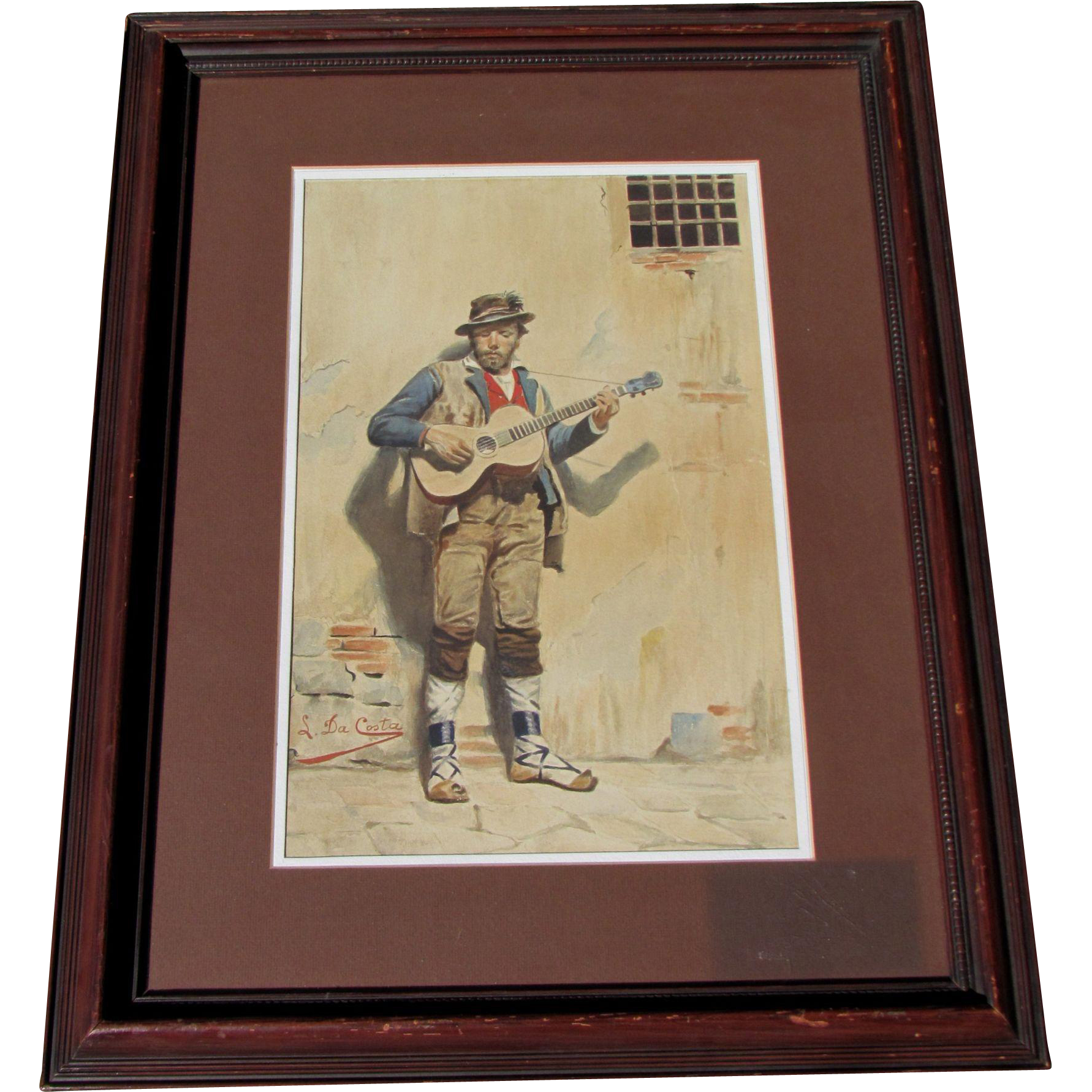 Fine vintage watercolor of street guitarist by Luigi DaCosta - listed.