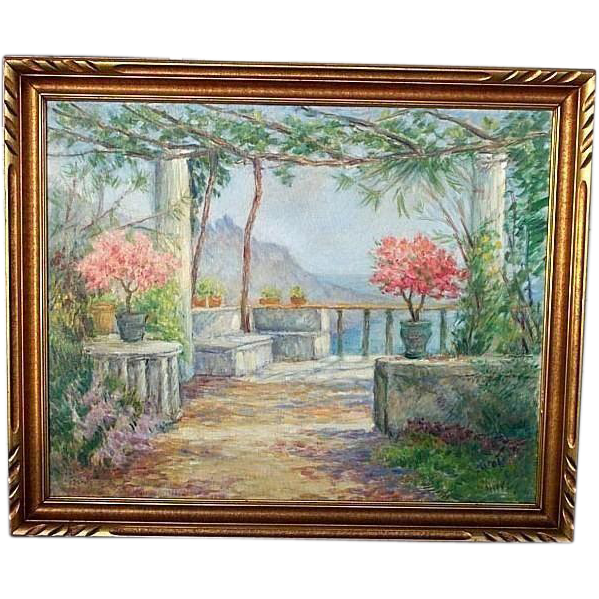 LISTED Woman painter Caroline Van Hook BEAN oil of seaside flowered terrace