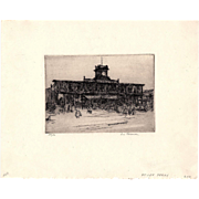 Fort Lee Ferry pencil signed etching Louis WOLCHONOK studied NAD