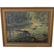Walter KOENIGER listed WOODSTOCK artist oil of Tannery Brook