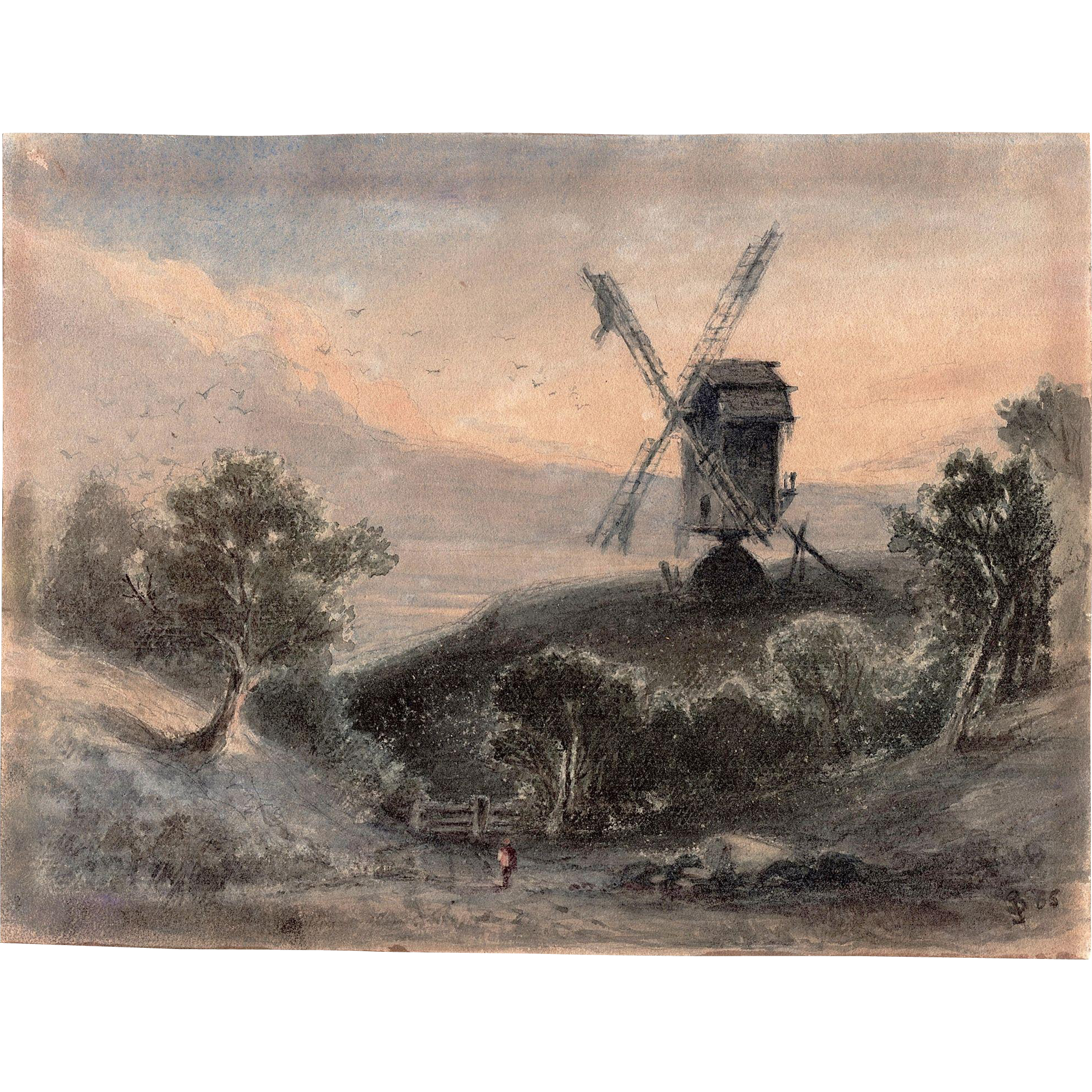James SMILLIE (1807-1885) Gouache on paper of Dutch landscape