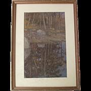 William CLOSSON large landscape pastel exhibited Boston Art Club 1902