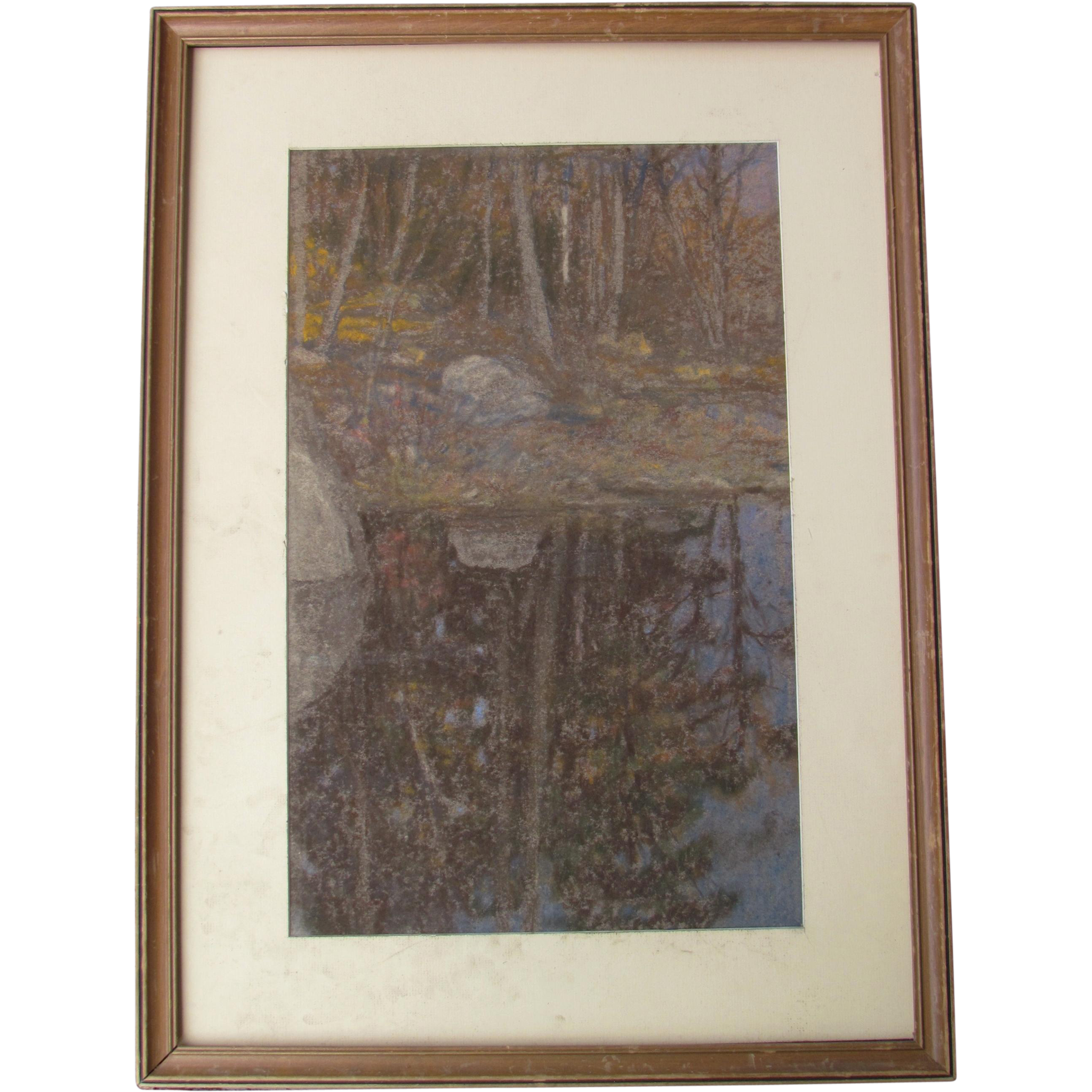 William CLOSSON large landscape pastel exhibited Boston Art Club 1902
