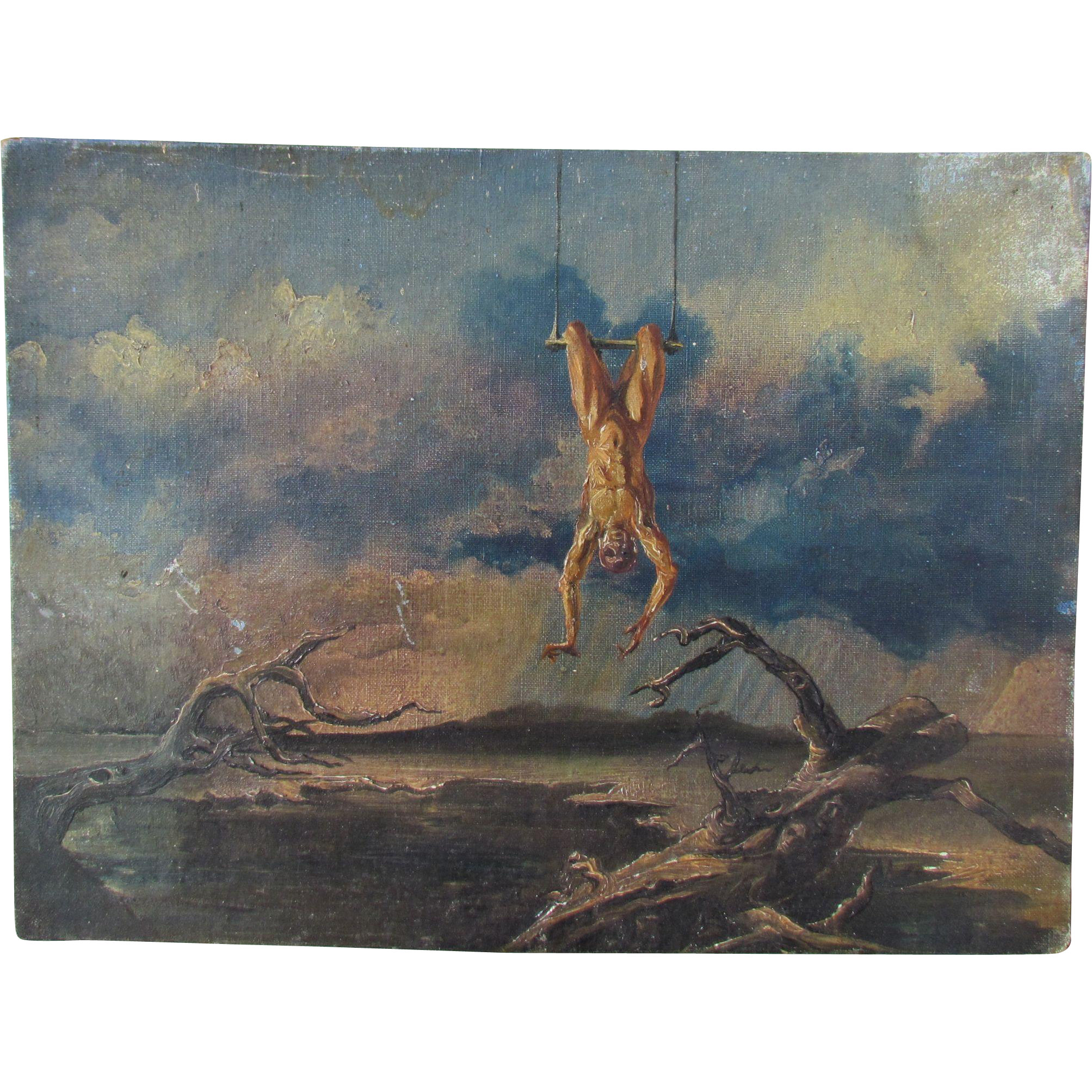 William Ward BEECHER ~ CT. artist LISTED oil on canvasboard of acrobat surreal