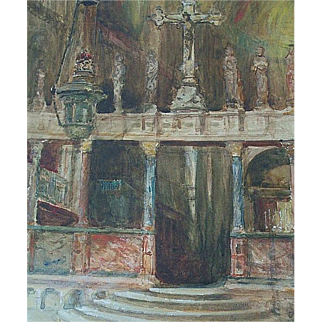 Charles James LAUDER ,RSW,RGI  fine 1920 watercolor of a Venice Italy church interior