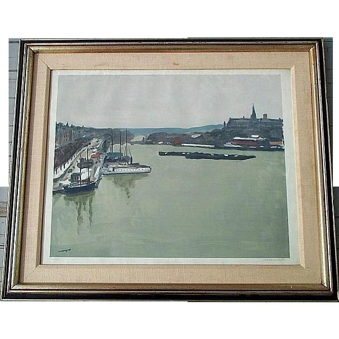 Albert MARQUET  pencil signed large harbor aquatint