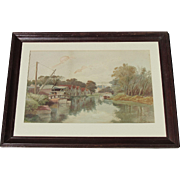 George HOLSTON  ~ listed ~ 1879 watercolor of the Bronx New York in another era 1833-1923