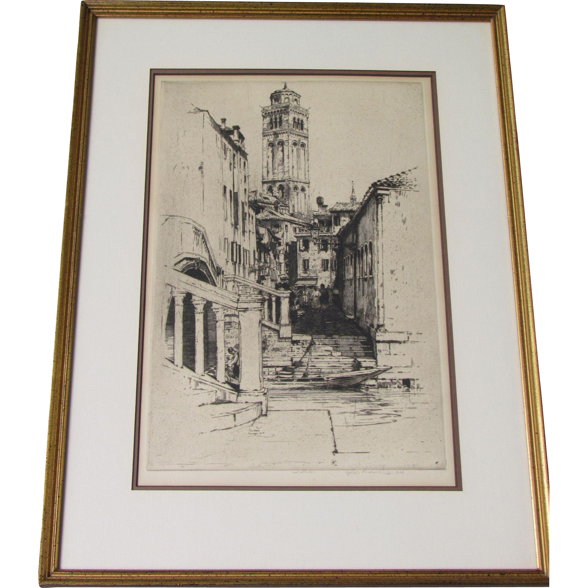 Jan (John ) C. VONDROUS pencil signed etching of Forari Italy