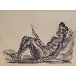 John Sloan, Reclining Nude Reading, charcoal on cream paper, 1945
